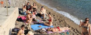Nice: Students at the beach